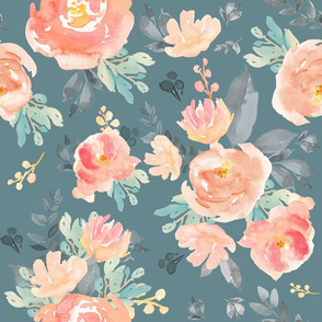 "21"" Coral Grey and Mint Florals - Muted Green"