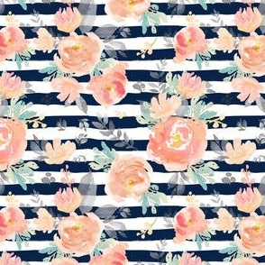 "4"" Coral Grey and Mint Florals - Navy Stripes"
