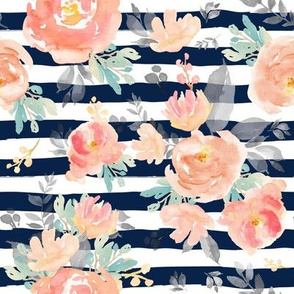 "8"" Coral Grey and Mint Florals - Navy Stripes"