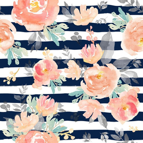 "21"" Coral Grey and Mint Florals - Navy Stripes"