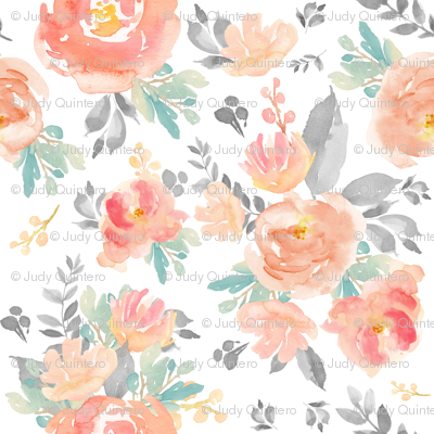 """4"""" Coral Grey and Mint Florals - White"""