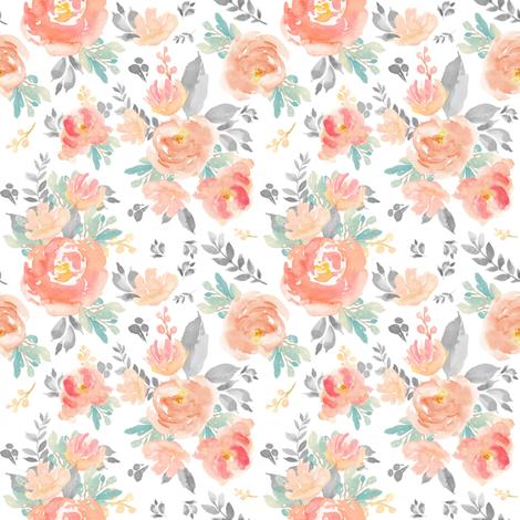 """4"""" Coral Grey and Mint Florals - White fabric by shopcabin on Spoonflower - custom fabric"""