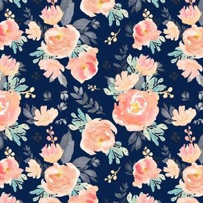 "4"" Coral Grey and Mint Florals - Navy"