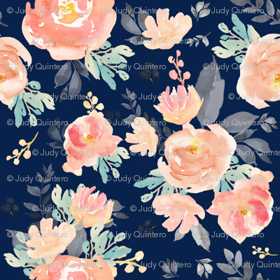 "8"" Coral Grey and Mint Florals - Navy"