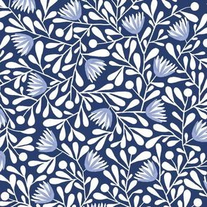 Rianne - Modern Folksy Floral in Blues