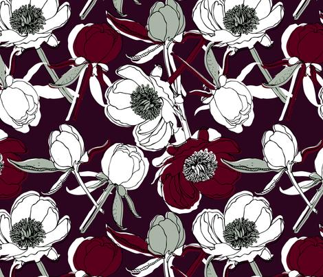 Elegant peonies fabric by tatiabaurre on Spoonflower - custom fabric
