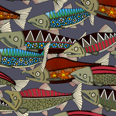 Alaskan salmon dusk smaller fabric by scrummy on Spoonflower - custom fabric