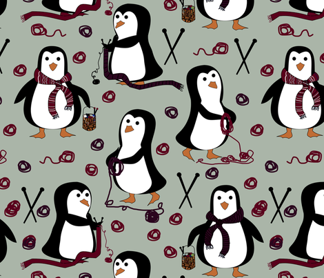 penguin knitting fabric by pamelachi on Spoonflower - custom fabric