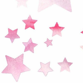 Watercolour Stars - pink - large scale