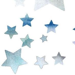 Watercolour Stars - blue - large