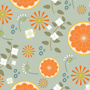 Oranges with White Flowers