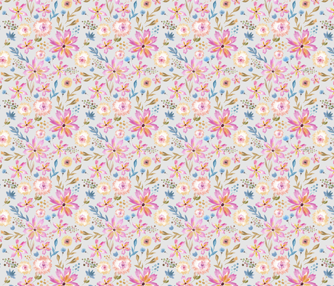 Wildflower Summer in Pink and Gray - SMALL fabric by sugarfresh on Spoonflower - custom fabric