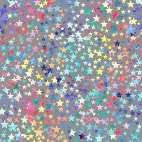 rainbow crowded stars - grey