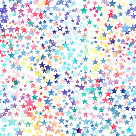 rainbow crowded stars - white fabric by emeryallardsmith on Spoonflower - custom fabric