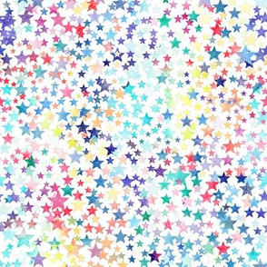 rainbow crowded stars - white