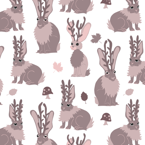 Jackalope Forest - Mauve fabric by jannasalak on Spoonflower - custom fabric