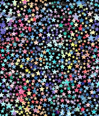 rainbow crowded stars - black
