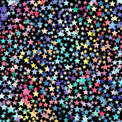 rainbow crowded stars - black fabric by emeryallardsmith on Spoonflower - custom fabric