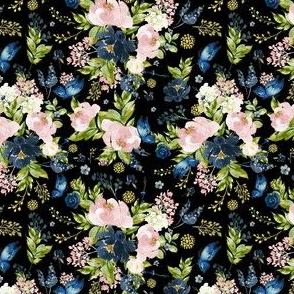 "4"" Indigo & Pink Floral Bouquet - Full Florals - Black"