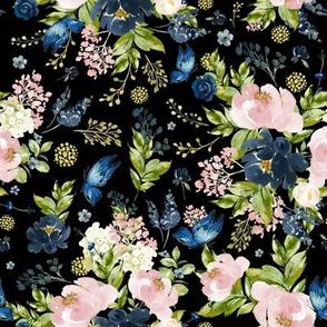 "8"" Indigo & Pink Floral Bouquet - Full Florals - Black"