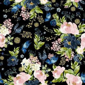 "18"" Indigo & Pink Floral Bouquet - Full Florals - Black"