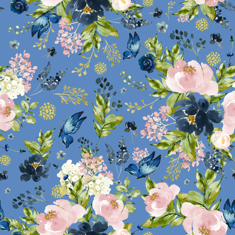 "8"" Indigo & Pink Floral Bouquet - Full Florals - Bright Blue fabric by shopcabin on Spoonflower - custom fabric"