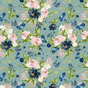 "4"" Indigo & Pink Floral Bouquet - Full Florals - Muted Green"