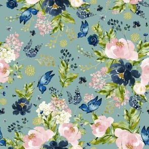 "8"" Indigo & Pink Floral Bouquet - Full Florals - Muted Green"