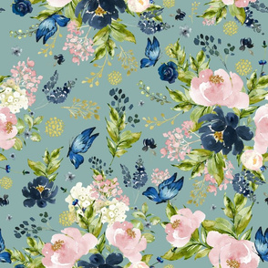 "18"" Indigo & Pink Floral Bouquet - Full Florals - Muted Green"