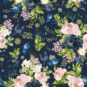 """18"""" Indigo & Pink Floral Bouquet - Full Florals - Indigo Blue"""