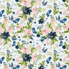 "4"" Indigo & Pink Floral Bouquet - Full Florals - Light Blue"