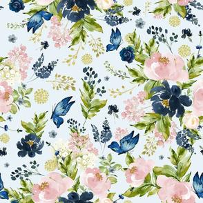 "18"" Indigo & Pink Floral Bouquet - Full Florals - Light Blue"