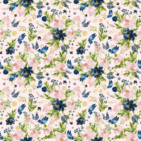 "4"" Indigo & Pink Floral Bouquet - Full Florals - Pink fabric by shopcabin on Spoonflower - custom fabric"