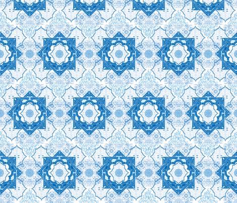 Blue  Arabesque fabric by leahvanlutz on Spoonflower - custom fabric