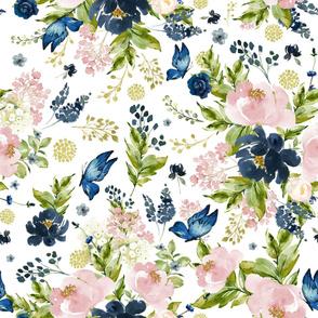 """36"""" Indigo & Pink Floral Bouquet - Full Florals - White"""