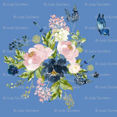 """10.5"""" Indigo & Pink Floral Bouquet - Bright Blue"""