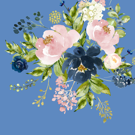 """10.5"""" Indigo & Pink Floral Bouquet - Bright Blue fabric by shopcabin on Spoonflower - custom fabric"""