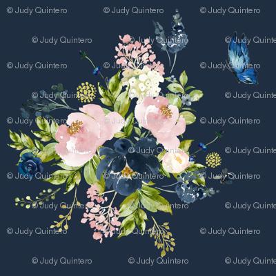 """10.5"""" Indigo & Pink Floral Bouquet - Indigo Blue"""