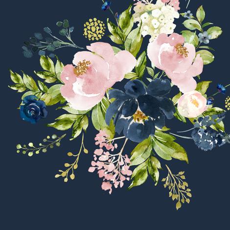 "10.5"" Indigo & Pink Floral Bouquet - Indigo Blue fabric by shopcabin on Spoonflower - custom fabric"
