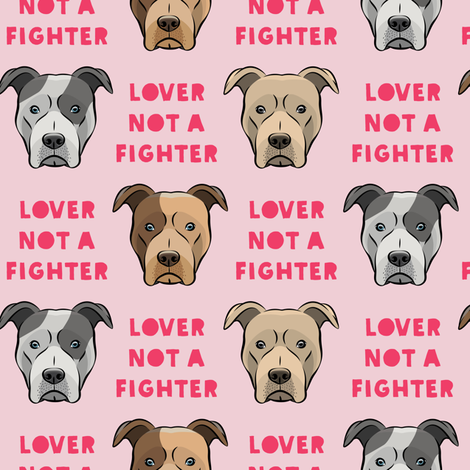 lover not a fighter - pit bull on pink (pink text) fabric by littlearrowdesign on Spoonflower - custom fabric
