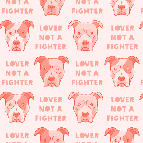 lover not a fighter - pit bull in pink fabric by littlearrowdesign on Spoonflower - custom fabric