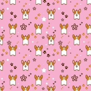Kawaii Corgi In Pink