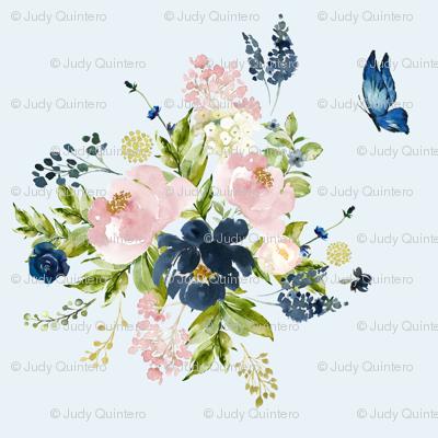 "10.5"" Indigo & Pink Floral Bouquet - Light Blue"