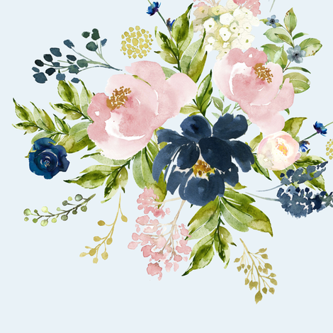 """10.5"""" Indigo & Pink Floral Bouquet - Light Blue fabric by shopcabin on Spoonflower - custom fabric"""