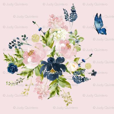 """8"""" Indigo & Pink Floral Bouquet - Pink"""