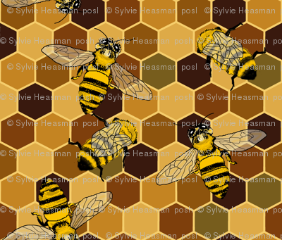 Honeycomb plain With Bees