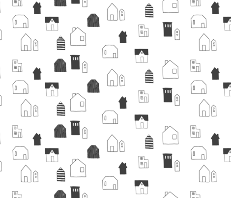 Charcoal Houses fabric by pellerinadesign on Spoonflower - custom fabric