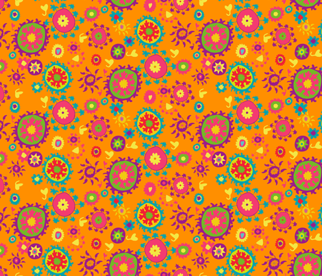 suzani half drop orange pink teal green violet fabric by kristin_nicholas on Spoonflower - custom fabric