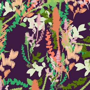 colorful grass and plants closed on dark violet background