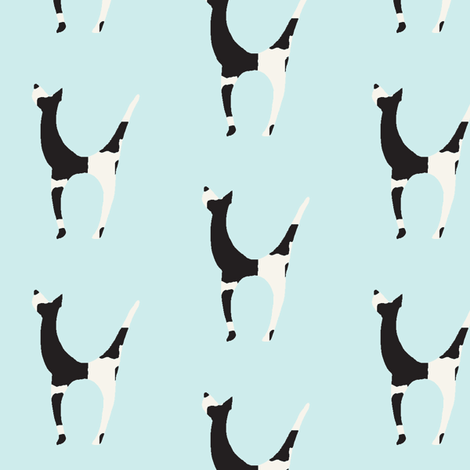 black and white dog on light blue fabric by dw77 on Spoonflower - custom fabric
